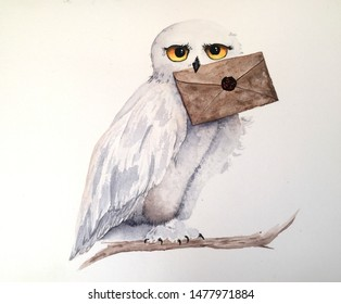 watercolor owl holding letter in its beak