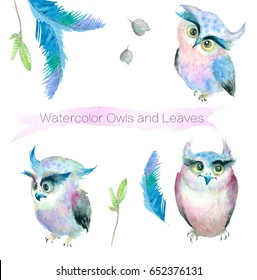 Watercolor Owl and Leaves