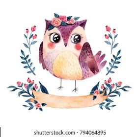 Watercolor owl with plants and ribbon