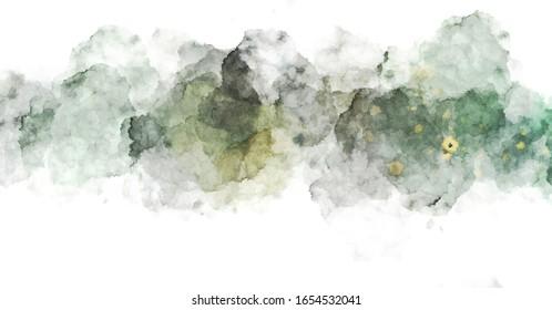 Aquarellfarbener Hintergrund mit Blenden und Plattern. Pinselstrichmalerei. 2D-Illustration.