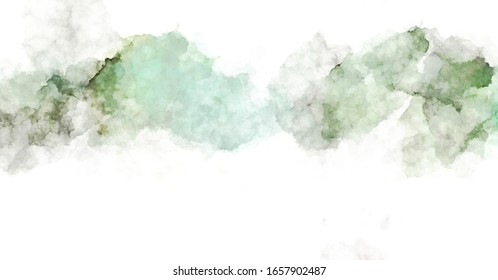 Watercolor painted background with blots and splatters. Brush stroked painting. 2D Illustration.