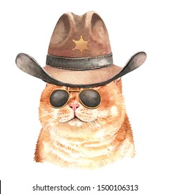Watercolor painted cat. Watercolor hand drawn illustration. Watercolor cat with sunglasses and Cowboys Hat Sheriff's layer path, clipping path isolated on white background.