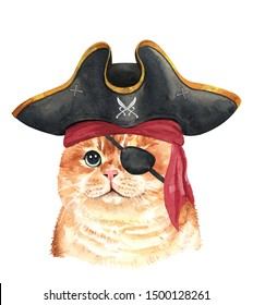 Watercolor painted cat. Watercolor hand drawn illustration. Watercolor cat with Pirate blindfold and Pirate hat layer path, clipping path isolated on white background.