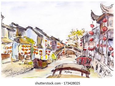 Watercolor painted chinese water canal in old town in China. Red lanterns.