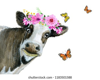 Watercolor painted cow