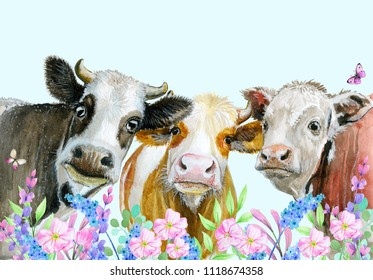 watercolor painted cows and flowers