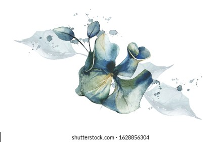 Watercolor painted floral bouquet isolated on white background. Arrangement with airy blue flowers of hydrangea, leaves and splashes.