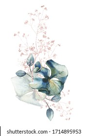 Watercolor painted floral bouquet isolated on white background. Arrangement with branches, leaves, flowers of hydrangea and line pink gold sparkle elements.