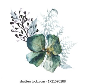 Watercolor painted floral bouquet isolated on white background. Arrangement with airy blue flowers of hydrangea, leaves of fern and black branch.