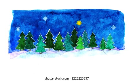 watercolor painted greeting card for Christmas, minimalist night forest, free space for warm words!