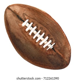 Watercolor painted illustration of brown ink american football ball isolated on white background
