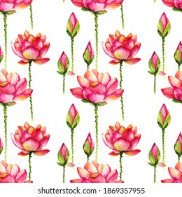 Watercolor painted illustration of lotus - flower and leaves. Artistic hand drawn illustration. Seamless pattern.