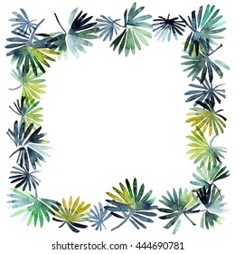 Watercolor painted leaves. Leafy patterned frame for greeting card or invitation or another design.