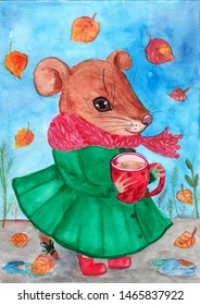 Watercolor painted little mouse in green coat on blue background illustration for your art.Use this picture for post cards,book illustration,book cover,invitation,home decoration and more