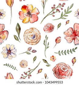 Watercolor painted pattern with flowers and leaves