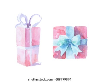 Watercolor painted pink gift boxes