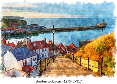 Watercolor painting of the 199 Steps at Whitby on the North Yorkshire coastline