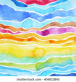 watercolor painting abstract mountain pattern illustration design color colorful