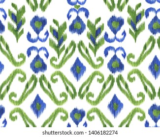 Watercolor painting abstract seamless ikat pattern. Oriental motifs