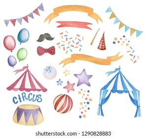 Watercolor painting Amazing Circus Show elements isolated on white
