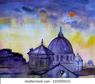 Watercolor painting of the Basilica Sant Pietro, Vatican, Rome, Italy.