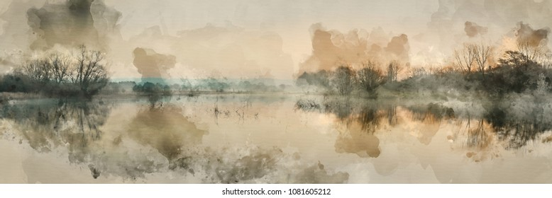 Watercolor painting of Beautiful tranquil landscape panorama of lake in mist