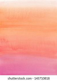 Watercolor painting. Beige, orange, pink, gradient