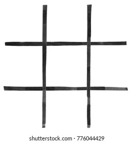 Watercolor painting black color lines of a game tic tac toe or Xs and Os on white.Hand drawn watercolor black color grids isolated on white background made for playing.Close up brush stroke design.