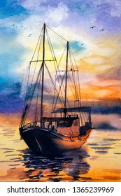 Watercolor Painting - Boats