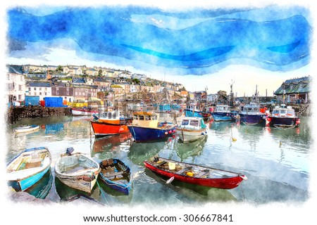 Watercolor painting of boats in the harbour at Mevagissey in Cornwall