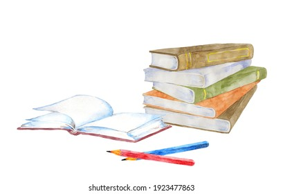 Watercolor painting of book with pencil