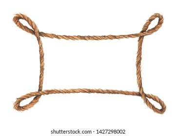 Watercolor painting of Brown rope frame with knots. Isolated on white background. Nautical style.