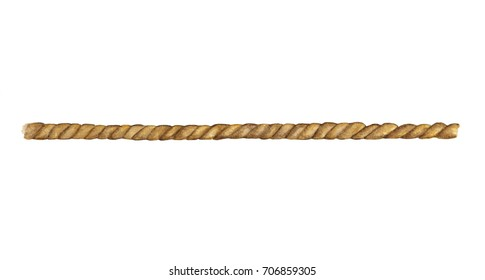 Watercolor painting of Brown rope string isolated on white background
