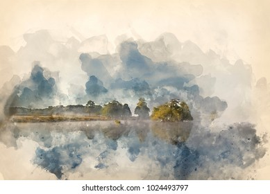 Watercolor painting of Calm peaceful lake with mist hanging over water on frosty Autumn Fall morning landscape