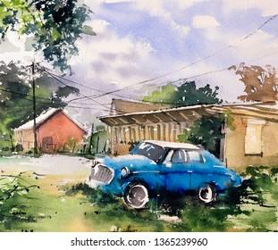 Watercolor Painting - Car