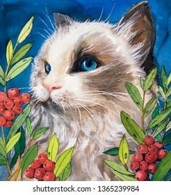 Watercolor Painting - Cat