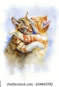 Watercolor painting of cats hugging