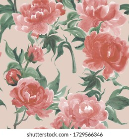 Watercolor painting chinese peony flowers seamless pattern