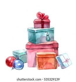 Watercolor painting of Christmas gifts on a white background.