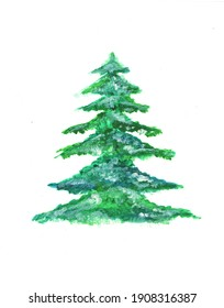 Watercolor painting christmas tree with snow