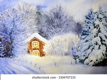 Watercolor painting Christmas winter fairy tale in the forest illustration