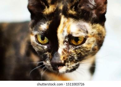 watercolor painting Closeup of tabby cat face.  muzzle half black half red,
