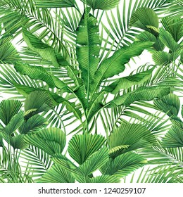 Watercolor painting coconut,banana,palm leaf,green leaves seamless pattern background.Watercolor hand drawn illustration tropical exotic leaf prints for wallpaper,textile Hawaii aloha style pattern.
