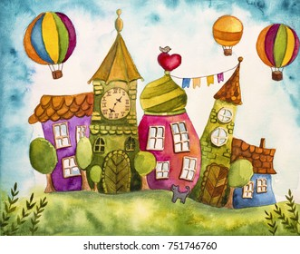 Watercolor painting of colorful fairy houses