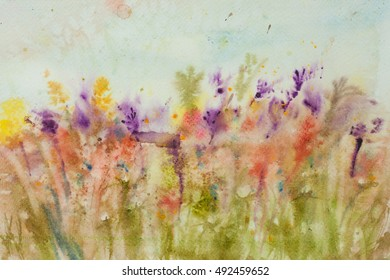 Watercolor painting of colorful wildflower field, landscape painting, impressionist style