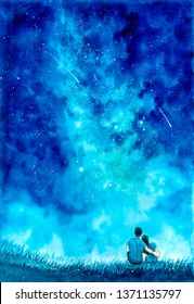 Watercolor Painting - Couple under Starry Night with Milky Way