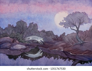 A watercolor painting of a coyote jumping over a pool of still water under a full moon in the desert southwest.
