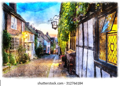 Watercolor painting of dusk at a row of beautiful old houses on a cobbled street in Rye, East sussex