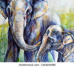 Watercolor Painting Elephant, Mother and Baby Elephant