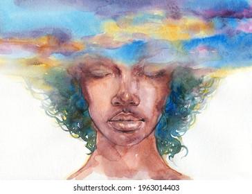 watercolor painting. fantasy human portrait. illustration.